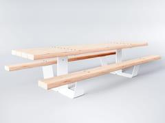 Tavolo da picnic in acciaio e legno con panchine integratePIK | Tavolo da picnic - FACTORY STREET FURNITURE