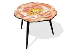 Tavolino di servizio in HPL e faggio PIVOINE L - Flora