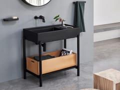 Lavabo rettangolare in ceramica con pianoPLINIO | Lavabo con piano - CERAMICA CIELO