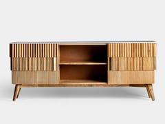 Mobile TV in legno di mango e marmo con ante a battentePLISSÉ WOOD | Mobile TV - VICAL HOME