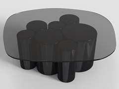 Tavolino basso ovale in cristallo POINTILLISME | Tavolino ovale -