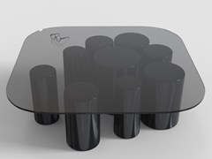 Tavolino basso quadrato in vetro POINTILLISME | Tavolino quadrato -