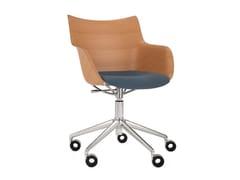 Sedia girevole ad altezza regolabile con cuscino integratoQ/WOOD   Sedia con cuscino integrato - KARTELL