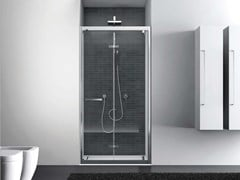 Box doccia a nicchia rettangolare con porta a battenteQUADRO | Nicchia - Porta a battente - DISENIA