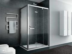 Box doccia angolare in vetro con porta a soffiettoQUADRO | Angolare - Porta a soffietto - DISENIA