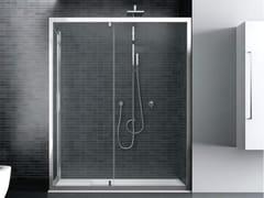 Box doccia angolare in vetro con porta a battenteQUADRO | Angolare battente apertura lato - DISENIA