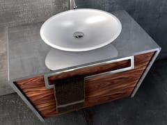 Mobile lavabo sospeso in acciaio inox e legnoQUATTORDICI | Mobile lavabo sospeso - COMPONENDO