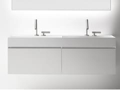 Mobile lavabo doppio sospeso con cassetti QUATTRO.ZERO | Mobile lavabo doppio - Quattro.Zero