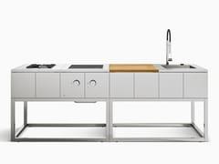 Rok, R2 Cucina da esterno componibile in acciaio inox
