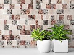 Ideamarmo, RAMAGE 1 Mosaico in marmo Rain Forest e travertino