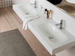Piano lavabo doppio in opaliteREGOLO | Piano lavabo doppio - ARTELINEA