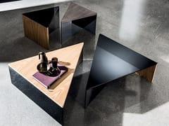 Tavolino triangolare in legno e vetro REGOLO TRIANGULAR - Regolo