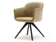Sedia su trespolo in pelle con braccioli ROLF BENZ 640 | Sedia in pelle -
