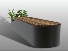 Panchina in acciaio e legno con fioriera integrata senza schienaleROUND I-II - MANUFATTI VISCIO