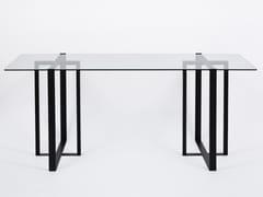 Tavolo / scrivania in acciaio e vetroSÉVERIN | Scrivania in acciaio e vetro - ALEX DE ROUVRAY DESIGN