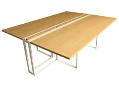 Tavolo da riunione rettangolare in acciaio e legnoSÉVERIN | Tavolo da riunione - ALEX DE ROUVRAY DESIGN