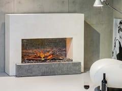 Caminetto elettrico in pietra ricostruita a parete senza canna fumaria SANTOS MF -