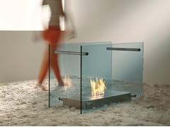 ACQUAFUOCO, SCREEN Caminetto free standing in acciaio e vetro a bioetanolo