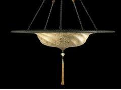 Lampada a sospensione in vetro SCUDO SARACENO WITH METAL RING   Lampada a sospensione in vetro - GLASS LAMPS