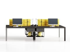 Bench a 4 con screen fonoassorbentiSEVENTY SEVEN | Postazione di lavoro con pannelli divisori fonoassorbenti - CENTRUFFICIO LORETO
