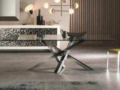 Tavolo da pranzo rettangolare in acciaio inox e cristallo SHANGAI | Tavolo in acciaio inox e cristallo - Shangai