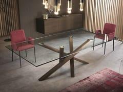 Tavolo da pranzo rettangolare in legno e vetro SHANGAI | Tavolo in legno e vetro - Shangai