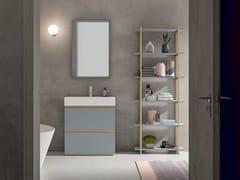 Mobile lavabo laccato singolo in legno impiallacciato con cassettiSIDÉRO COMP. 11 - BIREX