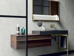 Mobile lavabo singolo sospeso in legno impiallacciato con cassettiSIDÉRO COMP. 3 - BIREX