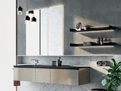 Mobile lavabo laccato sospeso con porta asciugamaniSIDÉRO COMP. 7 - BIREX