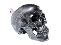 Salvadanaio in resina SKULL SILVER ANTIQUE - KARE-DESIGN