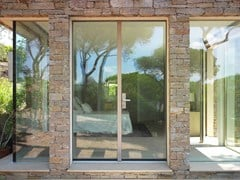 CARMINATI SERRAMENTI, SKYLINE ENTRANCE DOOR Porta d'ingresso in legno e vetro
