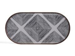 Vassoio ovale in legno e vetroSLATE LINEAR SQUARES - OBLONG M - ETHNICRAFT