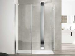 Box doccia angolare con porta a battente e doppio lato fisso SLIM SLPL + SL2F - Slim