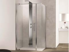 Box doccia angolare con porta a battente e lato fisso curvo SLIM SLPL+SL2C - Slim