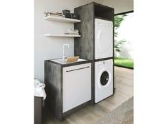 Mobile lavanderia a colonna componibile in nobilitato con lavatoioSMARTOP - COMPOSIZIONE 17 - COLAVENE