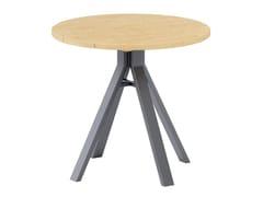 Tavolo da giardino rotondo in alluminio e legnoSOGNI | Tavolo da giardino - JARDINICO