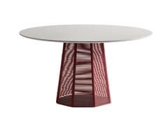 Tavolo da giardino in pietra con base rivestita in cordaSOPHIE | Tavolo in pietra naturale - POTOCCO