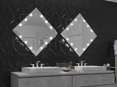 UNICA by Cantoni, SP304 Specchio quadrato in alluminio anodizzato con illuminazione integrata da parete