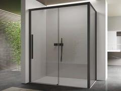 Box doccia angolare in vetro con porta scorrevoleSPACE | Box angolare apertura muro - DISENIA