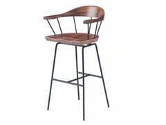 Sgabello alto da bar in acciaio e legno con braccioliSPINDLE | Sgabello da bar - BASSAMFELLOWS