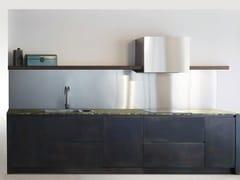 Cucina in acciaio inox con isola SQUARE BRUNITO NERO -