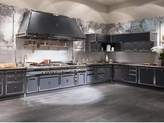 Cucina lineare professionale su misura in acciaioSTEEL BLUE GREY & SATIN NICKEL - OFFICINE GULLO