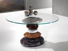 Tavolo rotondo con base in Crystal Stone® e top in cristalloSTONE - BALLARINI