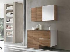 Gruppo Geromin, STORE 413 Mobile lavanderia in derivati del legno con ante a battente con cassetti con lavatoio