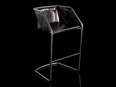 Sgabello con struttura in metallo e rivestimento in pelleSTRIP   Sgabello - H-07