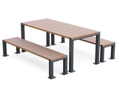 Tavolo per spazi pubblici rettangolare in acciaio e legnoSTRIUM | Tavolo da picnic - GHM-ECLATEC