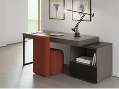 Scrivania rettangolare in legno impiallacciato con scaffaliSUA HOME OFFICE | Scrivania con scaffali - BK CONTRACT EQUIPMENT