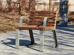 Seduta da esterni in acciaio e legnoSUMMER   Seduta da esterni - PUNTO DESIGN