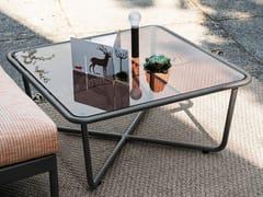 Tavolino da giardino quadrato in cristallo SUNGLASS | Tavolino quadrato -