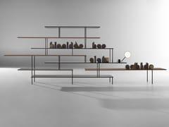 Libreria a giorno autoportante bifacciale in alluminio e legno SUPER_POSITION | Libreria in alluminio e legno -